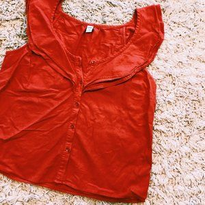 Old Navy Tops - Old Navy Coral Red Short Sleeve Shirt w/ Ruffles